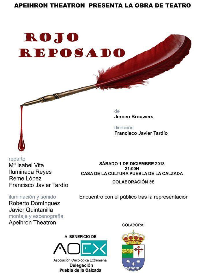 Cartel de Rojo reposado, obra de teatro en beneficio de AOEX