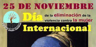 Cartel del IES María Josefa Baraínca de Valdelacalzada del Día Internacional para la eliminación de la violencia contra las mujeres