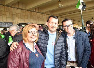 El presidente de FEMPEX y los presidentes de las Diputaciones de Cáceres y Badajoz, en la manifestación del 18N por un tren digno para Extremadura