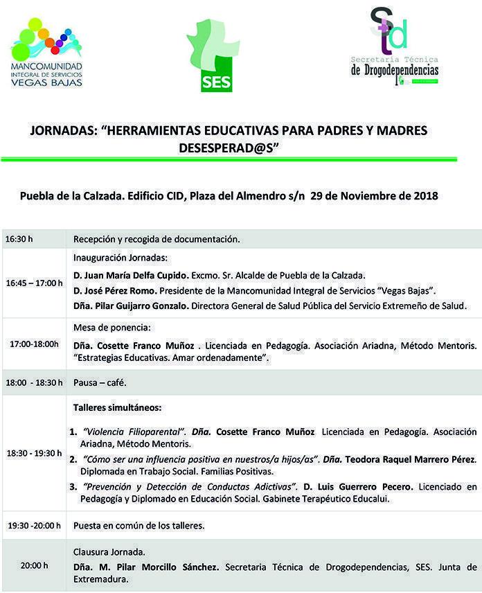 Programa Jornada Herramientas Educativas para Padres y Madres Desesperad@s