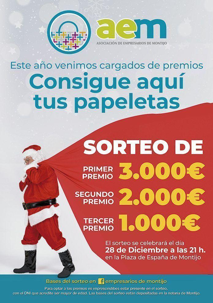 Cartel Sorteo de navidad de la Asociación Empresarios de Montijo