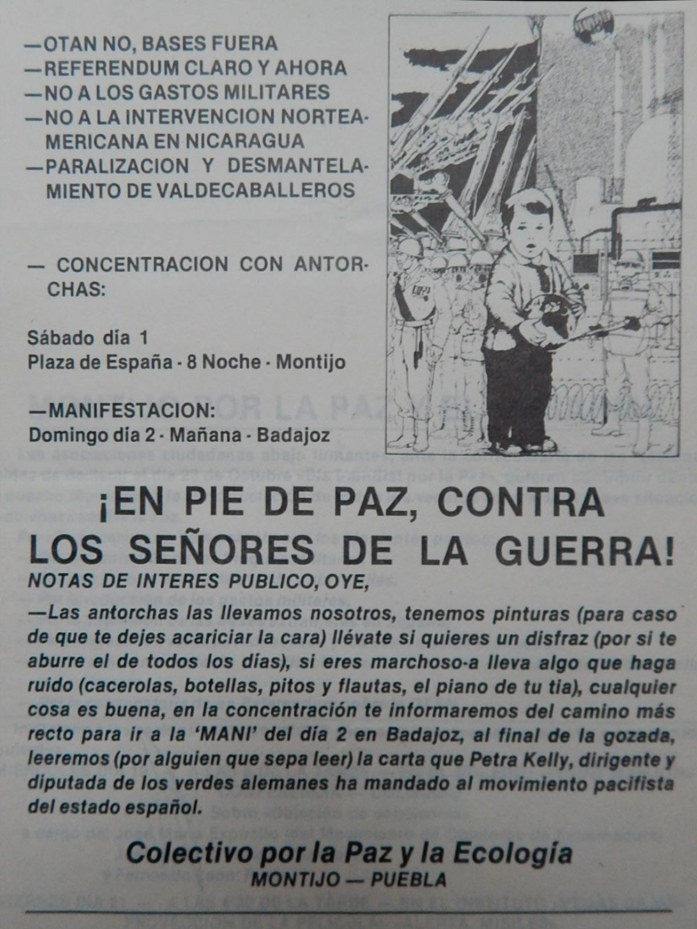 Convocatoria en Montijo contra la OTAN. Pedro Polo 1985.