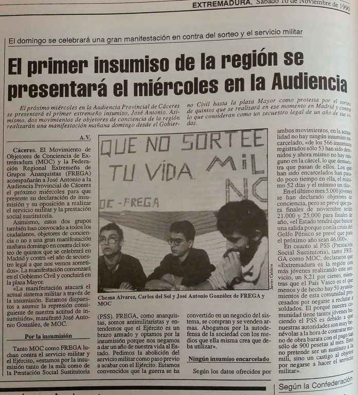 Periodico Extremadura, 10-11-1990.