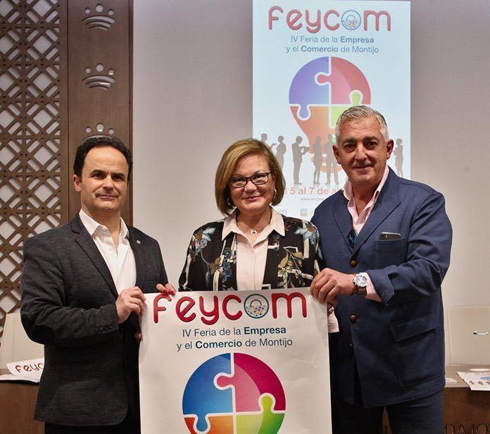 Francisco Moyano junto a Manuel Gomez y Rosario Moreno en la presentación de Feycom 2019 ayer en la sede de Diputación de Badajoz (foto Diputación de Badajoz)