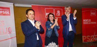 Manuel-Gomez-Adriana-Lastra-y-Valentin-Garcia-en-un-acto-electoral-del-PSOE-en-Montijo
