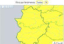 alerta amarilla por riesgo de tormentas en Extremadura
