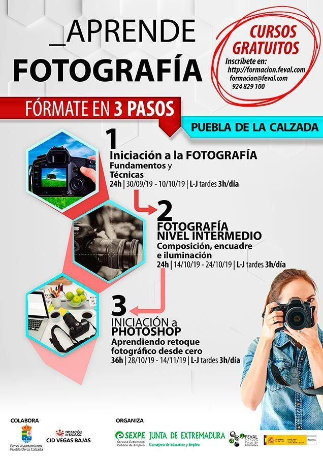 Cursos gratuitos de fotografía para desempleados.