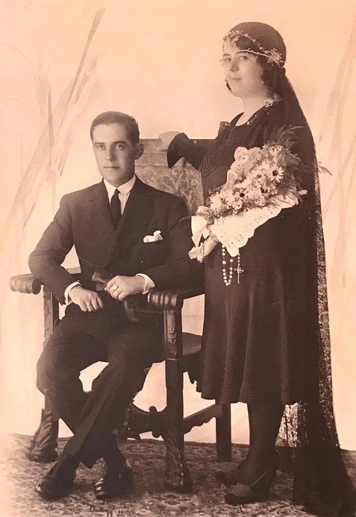 Juan José García Martínez de Tejada el día de su boda con Rosa Álvarez Rodríguez (fotografía cedida por familiar).