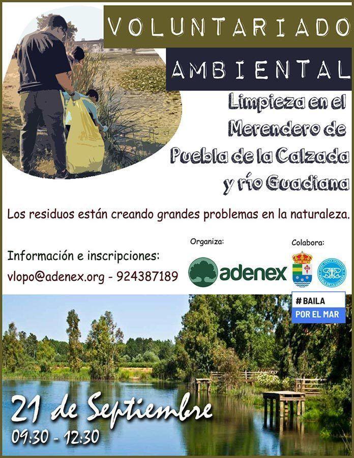 Voluntarios limpiarán el entorno del río Guadiana en Puebla de la Calzada en una jornada convocada por Adenex