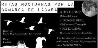 cartel Rutas nocturnas por la comarca de Lácara en otoño, organizadas por Adenex