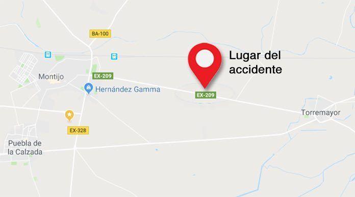 accidente en Montijo en la EX-209.