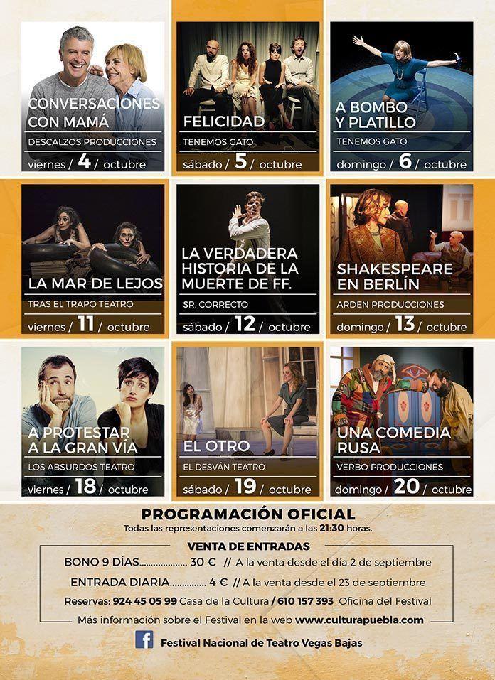 Programación Festival Teatro Vegas Bajas de Puebla de la Calzada