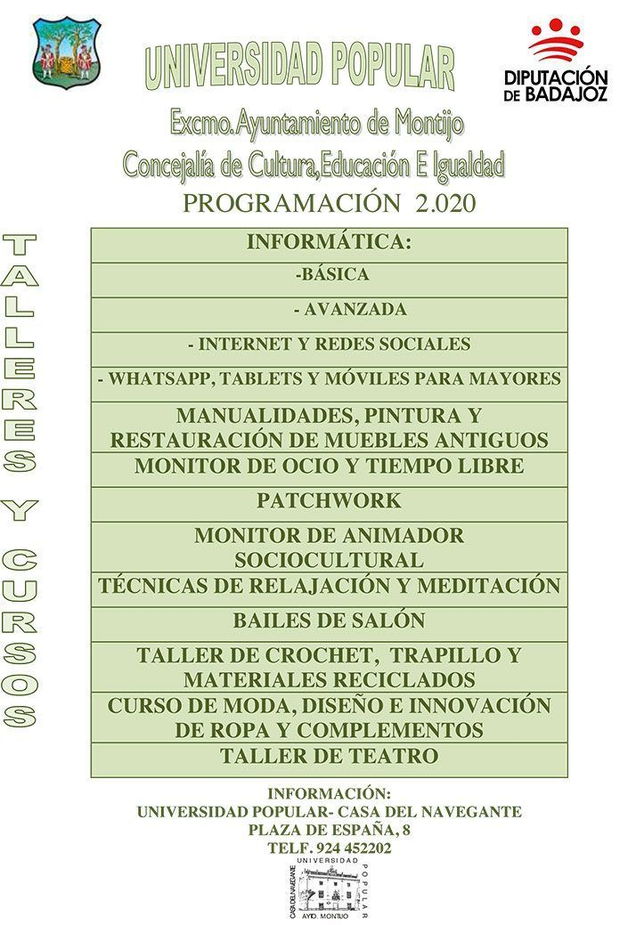 Programación de cursos y talleres 2019-2020 de la Universidad Popular de Montijo