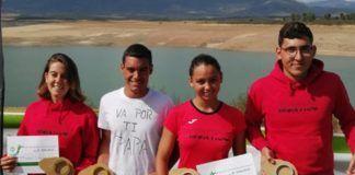 Circuito Extremeño de Aguas Abiertas Marta Reguero, Sergio del Viejo, María Ángeles Sánchez y Alonso Jiménez tras la disputa de la Etapa Final