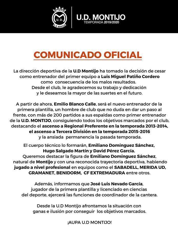 La UD Montijo cesa a su entrenador, que es sustituido por Emilio Blanco