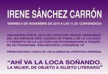 """""""Ahí va la loca soñando"""", conferencia de Irene Sánchez Carrón el IES Enrique Díez-Canedo de Puebla de la Calzada"""