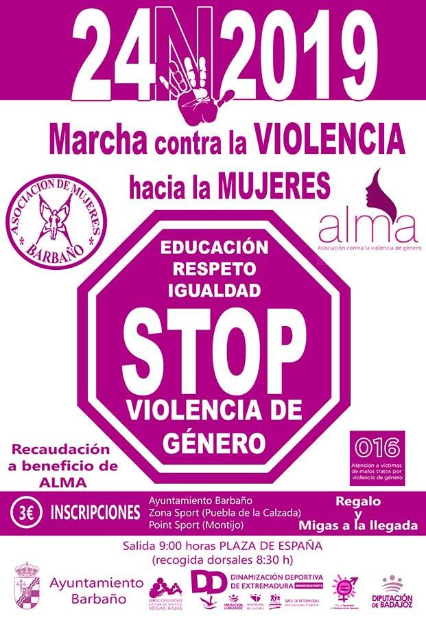 Marcha contra la Violencia hacia las Mujeres en Barbaño.
