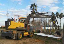 obras de la nueva cantina de la Piscina Municipal de guadiana del caudillo