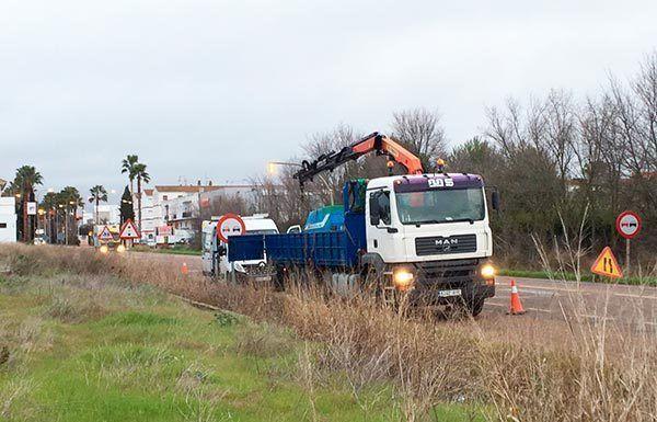 Instalación del radar de velocidad fijo en Montijo.