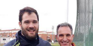Javier Cienfuegos con su entrenador, Antonio Fuentes, en Montijo (foto: Antonio Fuentes | Facebook)