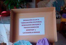 La Asociación Cultural Bordados Encajes y Tradiciones en Montijo dona material sanitario confeccionado con las tela cedidas por La Rambla Hogar