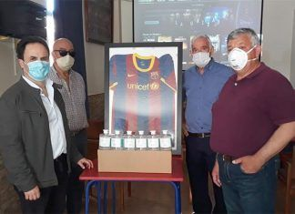 La Peña del FC Barcelona de Montijo dona hidrogel desinfectante al Ayuntamiento de Montijo