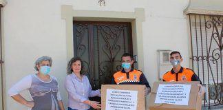 El Ayuntamiento recibe equipos EPI elaborados por varias Asociaciones de Montijo