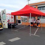 Cruz Roja instala una carpa en el Centro de Salud de Montijo-Puebla de la Calzada para realizar pruebas PCR