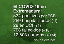 Extremadura registra 10 fallecidos y 524 casos positivos por Covid-19