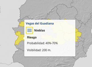 Las Vegas Bajas del Guadiana en alerta amarilla por nieblas
