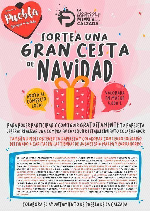 a Asociación de empresarios de Puebla de la Calzada sortea una cesta navideña valorada en más de 5.000 euros