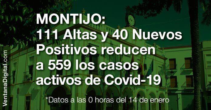 Con 111 altas y 40 nuevos positivos, los casos activos de Covid-19 se reducen a 559 en Montijo