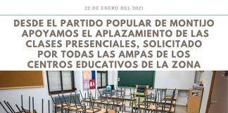 PP de Montijo apoyan retrasar la enseñanza presencial