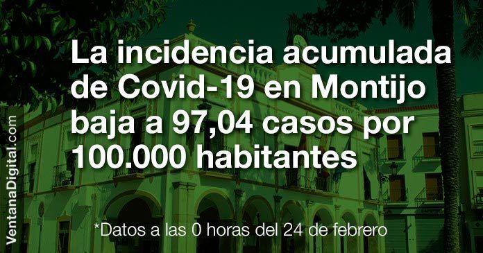 La incidencia acumulada de Covid-19 en Montijo baja a 97,04 casos