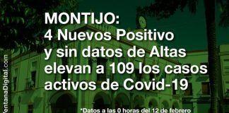4 Nuevos casos, sin datos de altas, elevan a 109 los casos activos de Covid-19 en Montijo