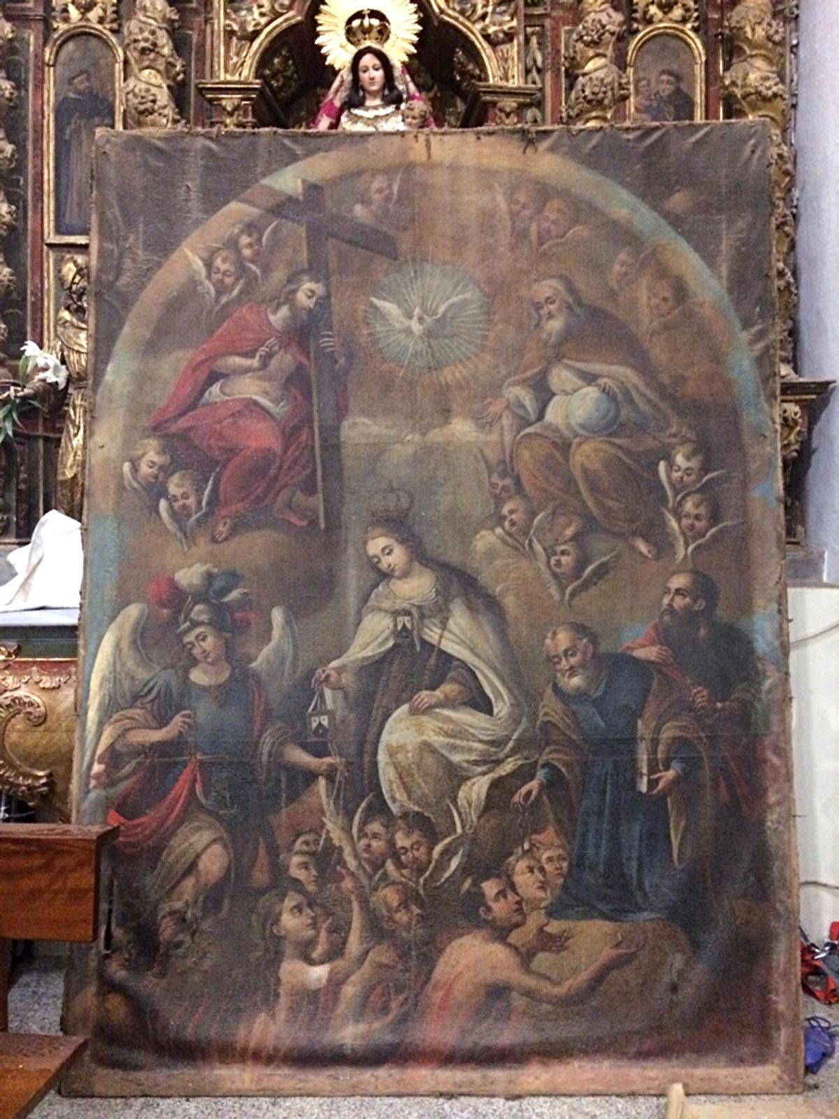 Cuadro Ánimas Benditas del Purgatorio antes de la restauración.