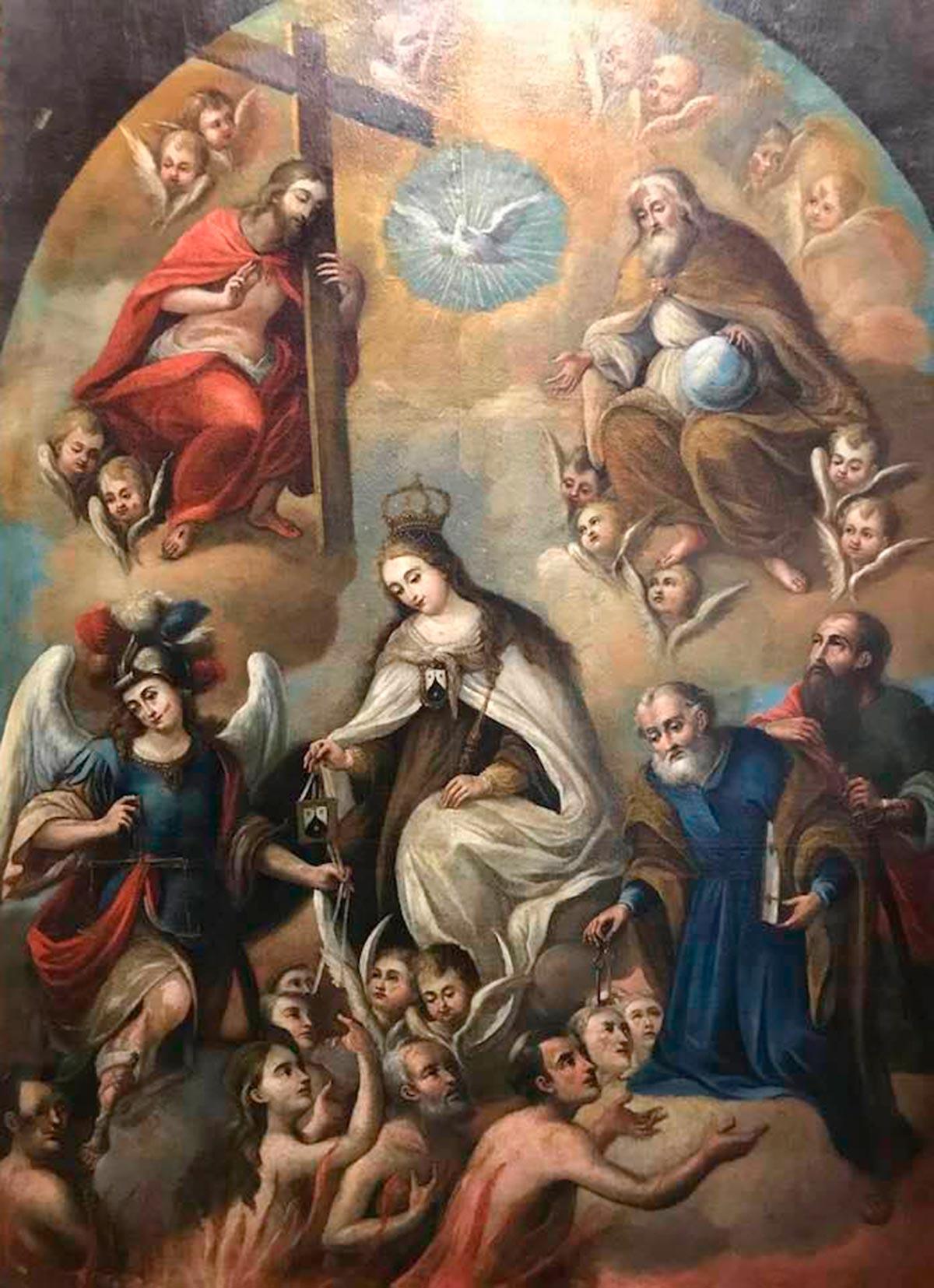 Cuadro Ánimas Benditas del Purgatorio después de la restauración.