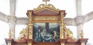 Retablo Mayor de la iglesia de Santiago en Torremayor una vez restaurado por por la doctora Carmen Vega